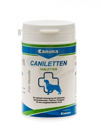 Canina Caniletten - хранителна добавка за кучета за растежа на костите, зъбите и мускулите, обмяната на веществата, апетита, храносмилането и пигментацията, 300 грама