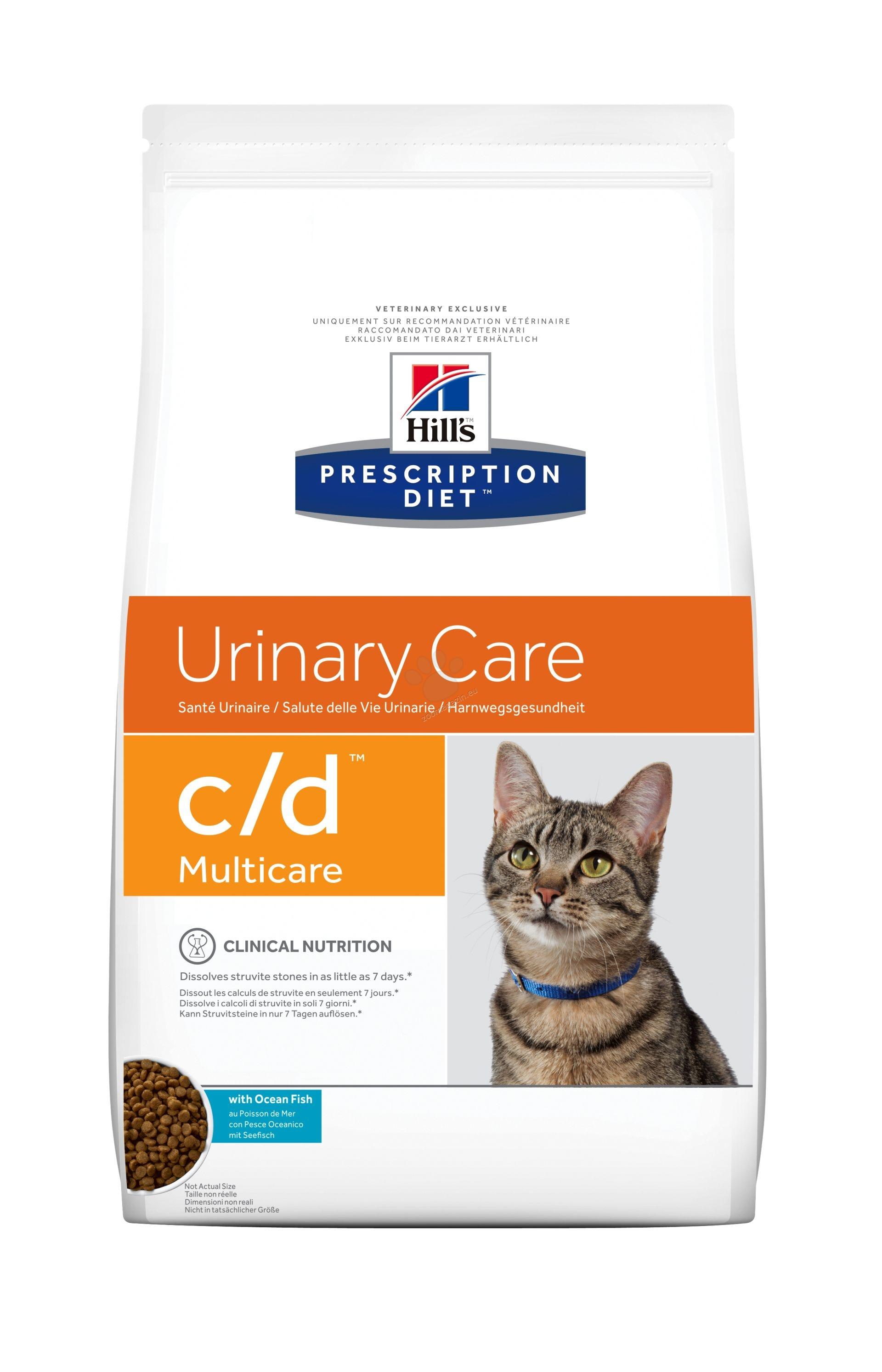 Hills Prescription Diet c/d Multicare Ocean Fish - диета за котки имащи струвитни, калциево оксалатни и калциево фосфатни уролити 1.5 кг.