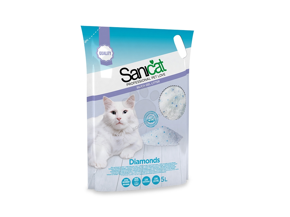 Sanicat Diamonds Natural - силиконова котешка тоалетна, 5 литра /2.4 кг/
