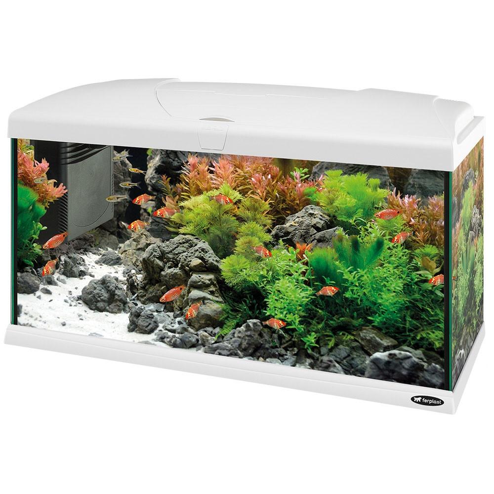 Ferplast - Aquarium Capri 80 - аквариум с пълно оборудване 100 л. бял