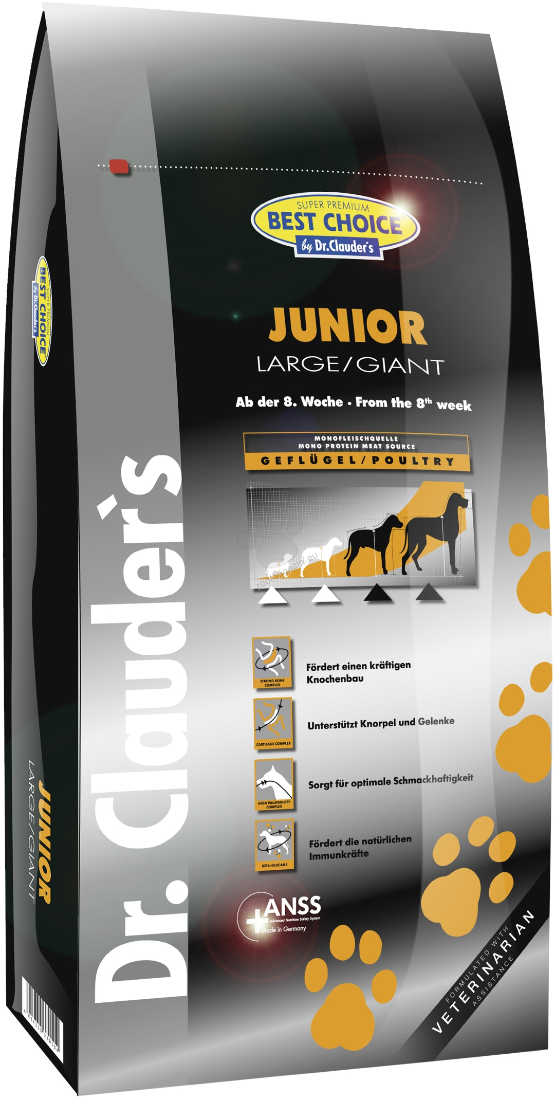 Dr. Clauder Super Premium Large Breed Junior - с прясно пилешко месо, за кучета големи и гигантски породи над 25 кг. от 2 до 18 месеца 350 гр.