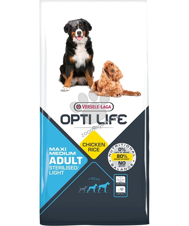 Opti Life Adult Sterilised/Light Medium & Maxi - Балансирана олекотена храна с пиле за средни и едри породи кастрирани кучета 12.5 кг.
