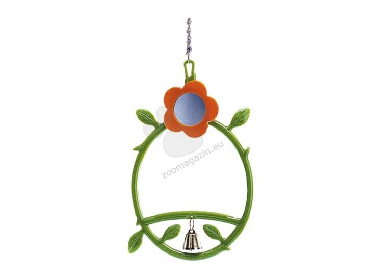Nobby Cage toy and equipment - люлка цвете със звънче и огледалце 17см