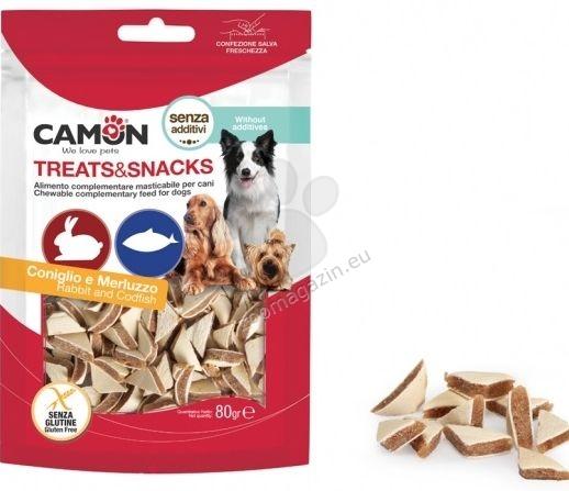 Camon Treats Snacks - Меки хапки в формата на триъгълник с заешко месо и риба 80 гр.