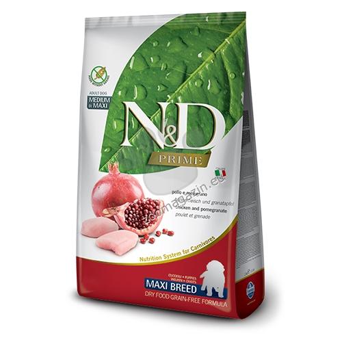 N&D Grain Free Maxi Puppy - пълноценна храна с пилешко месо и нар, за кучета големи породи до 18 месеца 12 кг.
