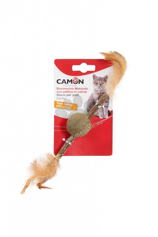 Camon Matatabi stick with catnip ball - натурална котешка играчка 3.5 см.