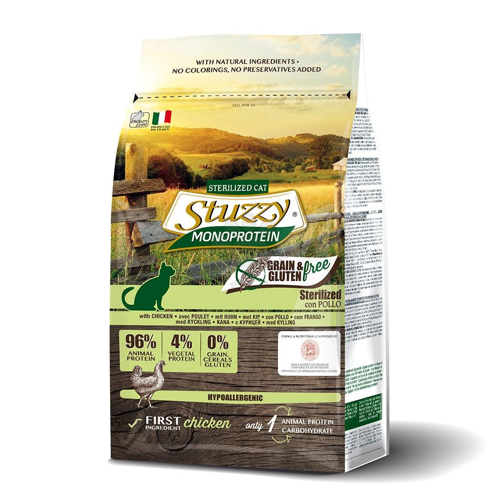 Stuzzy Monoprotein Grain Free Chicken Sterilized - пълноценна храна с пилешко, за кастрирани котки над 12 месечна възраст 400 гр.