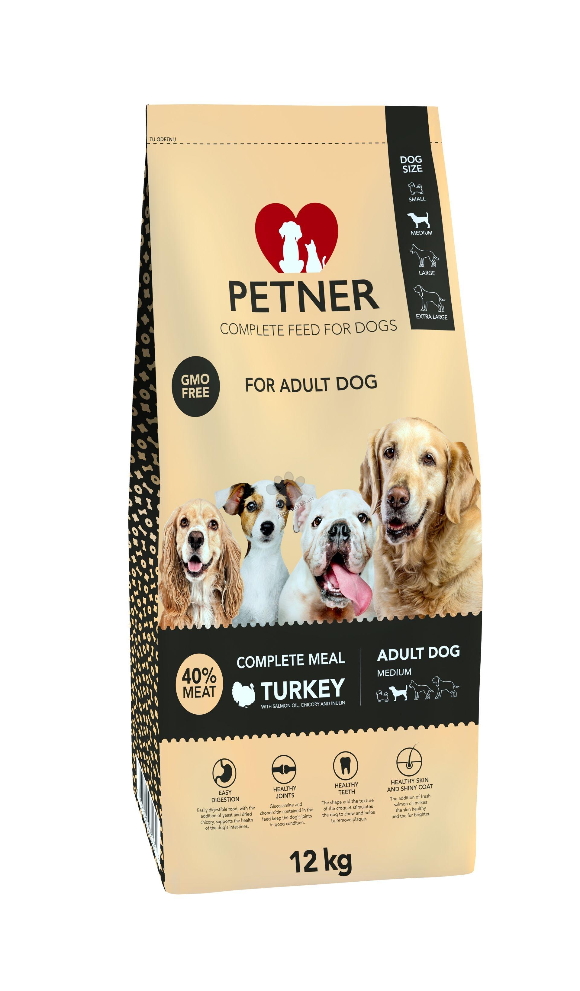 Petner adult medium turkey - пълноценна храна за кучета от средни породи, и възраст над 12 месеца, 12 кг.