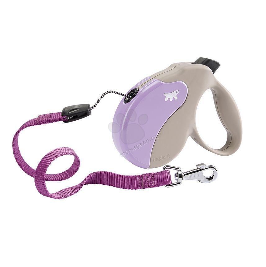 Ferplast - Amigo Cord S Beige Violet - 5 метра въже, за кучета с тегло до 15 кг.