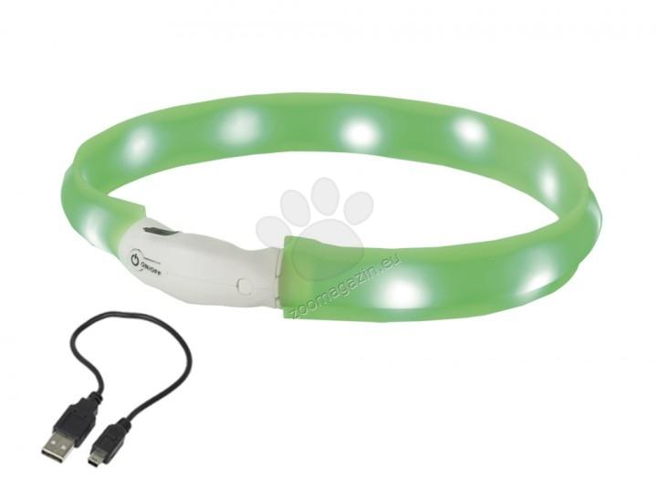 Nobby Visible LED - силиконов светещ нашийник, устойчив на дъжд, USB зареждане 25 мм. / 40 см. / син, зелен /