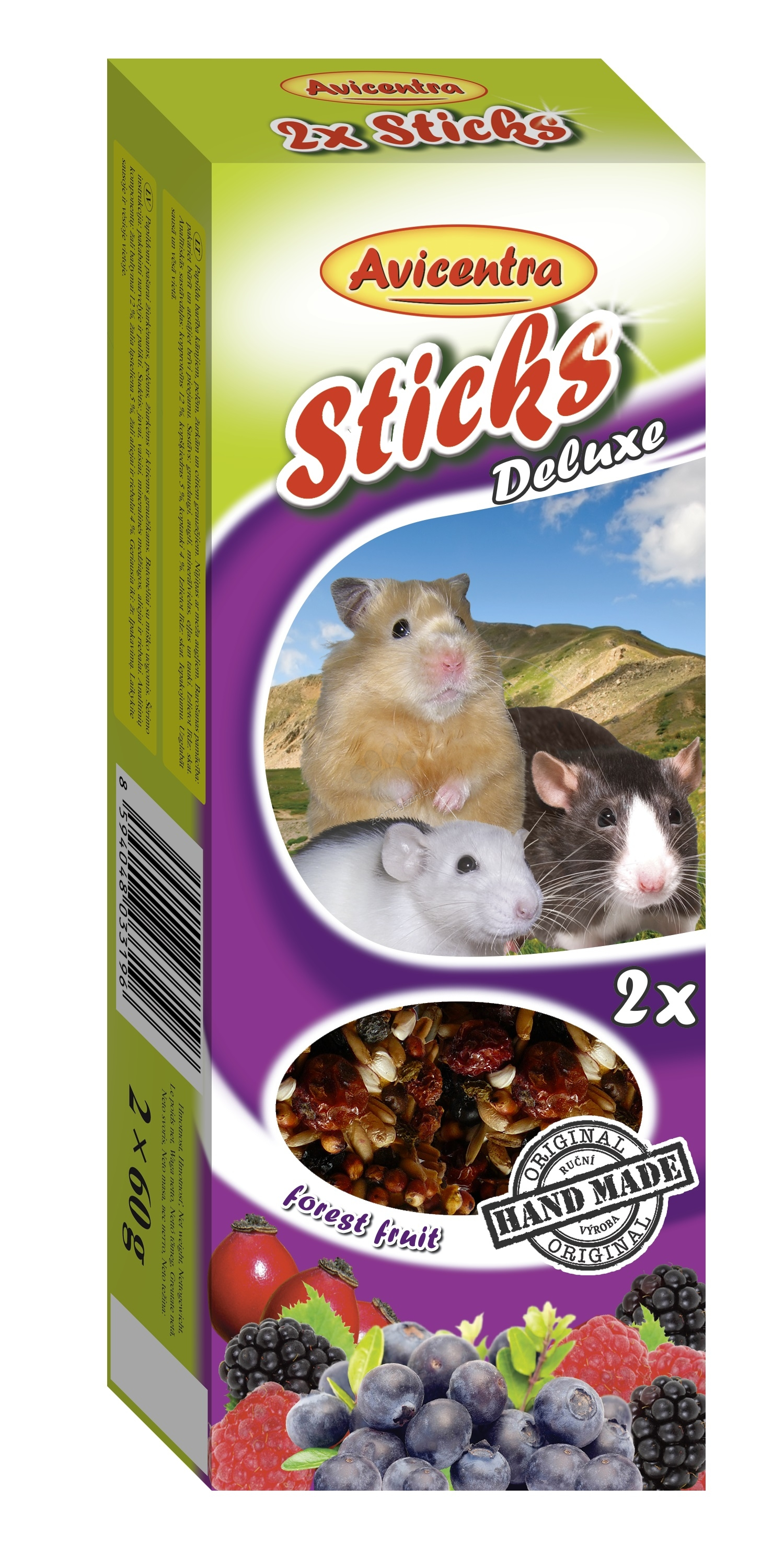 Avicentra Sticks deluxe with forest fruit for hamsters, rats and mouses - крекер с горски плодове 2 броя, 120 гр.