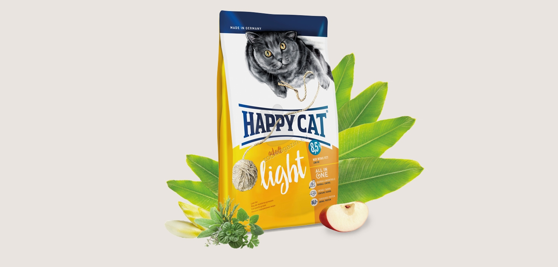 Happy Cat Light - с пилешко, говеждо, сьомга, за котки с наднормено тегло 4 кг.