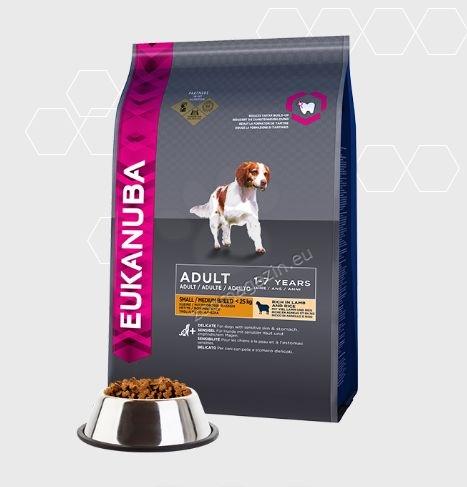 Eukanuba Adult Lamb & Rice Small & Medium Breed - с агнешко месо,за кучета над 12 месеца и тегло до 25 кг. 12 кг.