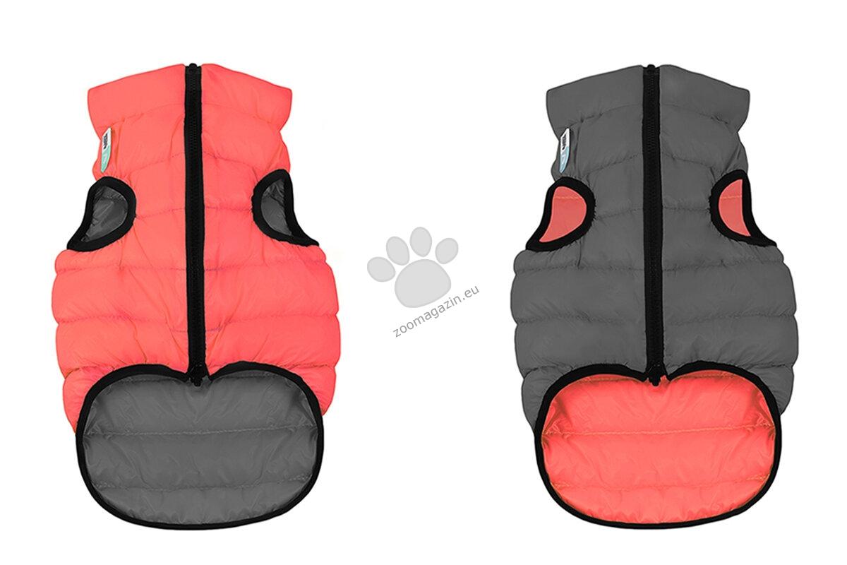 Reversible dog jacket AiryVest, coral - grey, size XS25 - двустранно олекотено кучешко яке, за кучета с дължина на гърба 22 - 25 см.