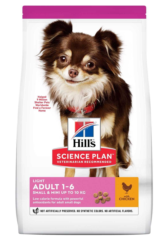 Hills - Science Plan Light Small&Mini с пилешко - Пълноценна суха храна за по-слабо активни кучета в зряла възраст от малките породи 1.5 кг.