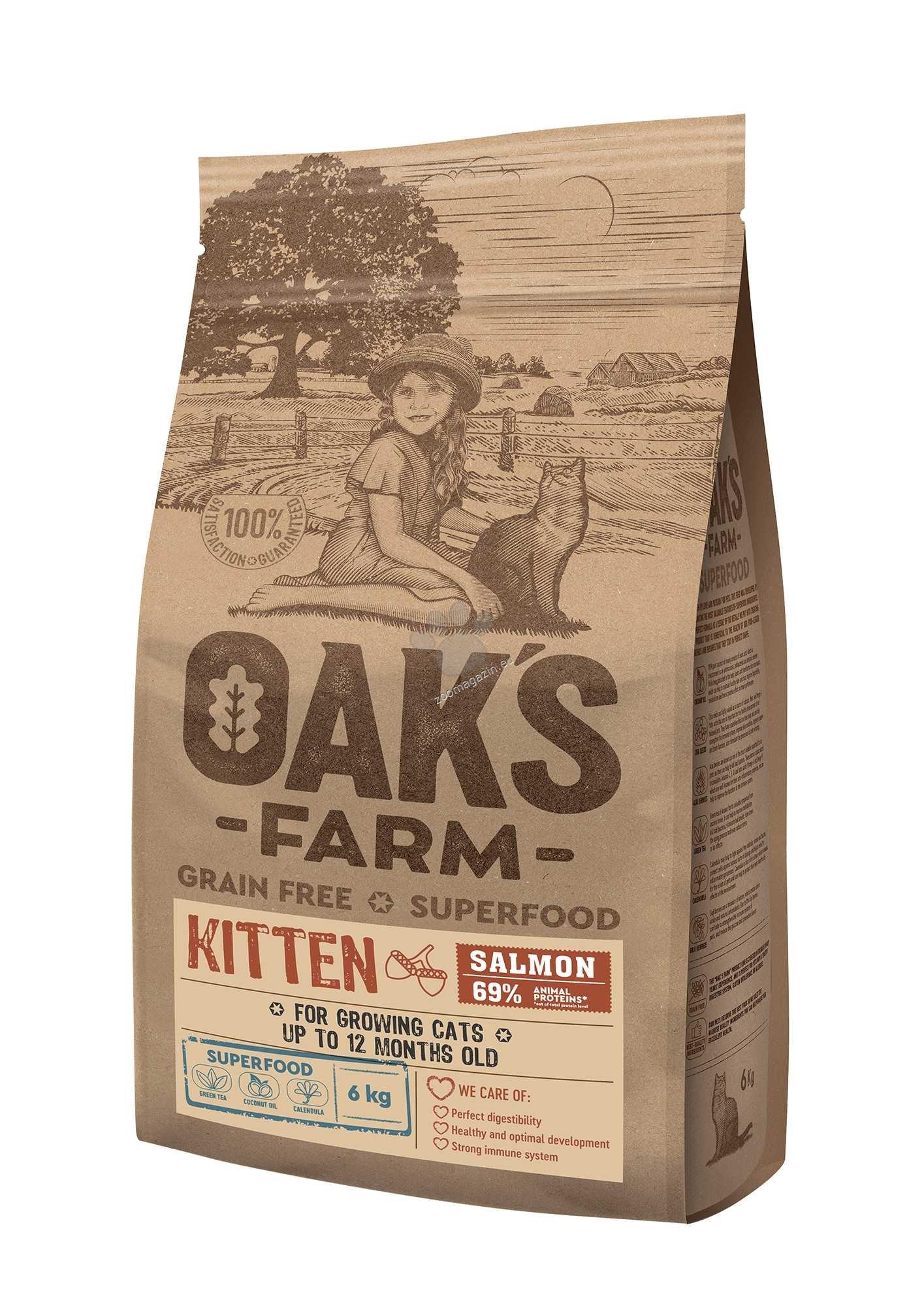 Oaks Farm Grain Free Salmon Kitten - пълноценна храна без зърнени култури със сьомга за подрастващи котки до 12 месечна възраст 2 кг.