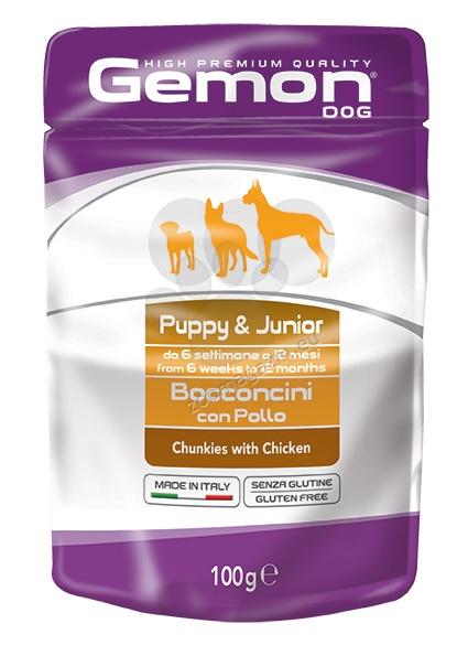 Gemon Chicken Puppy & Junior - пауч с пилешко месо, за малки кученца 1-12 месеца 100 гр.