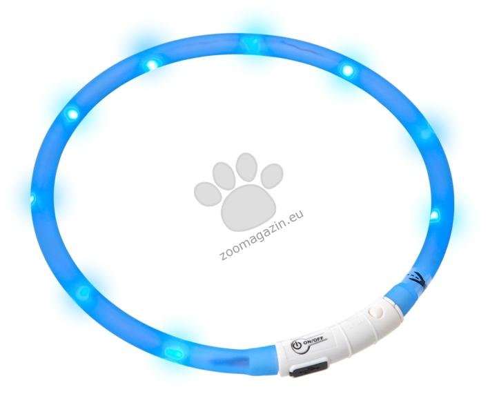 Flamingo VISIO LIGHT LED COLLAR - светещ силиконов нашийник с led лампи, зареждане с USB 70 см. / син /