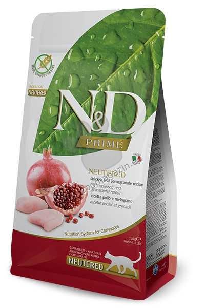N&D Prime Neutered Adult - пълноценна храна с пилешко месо и нар, за кастрирани котки над 12 месеца 1.5 кг.