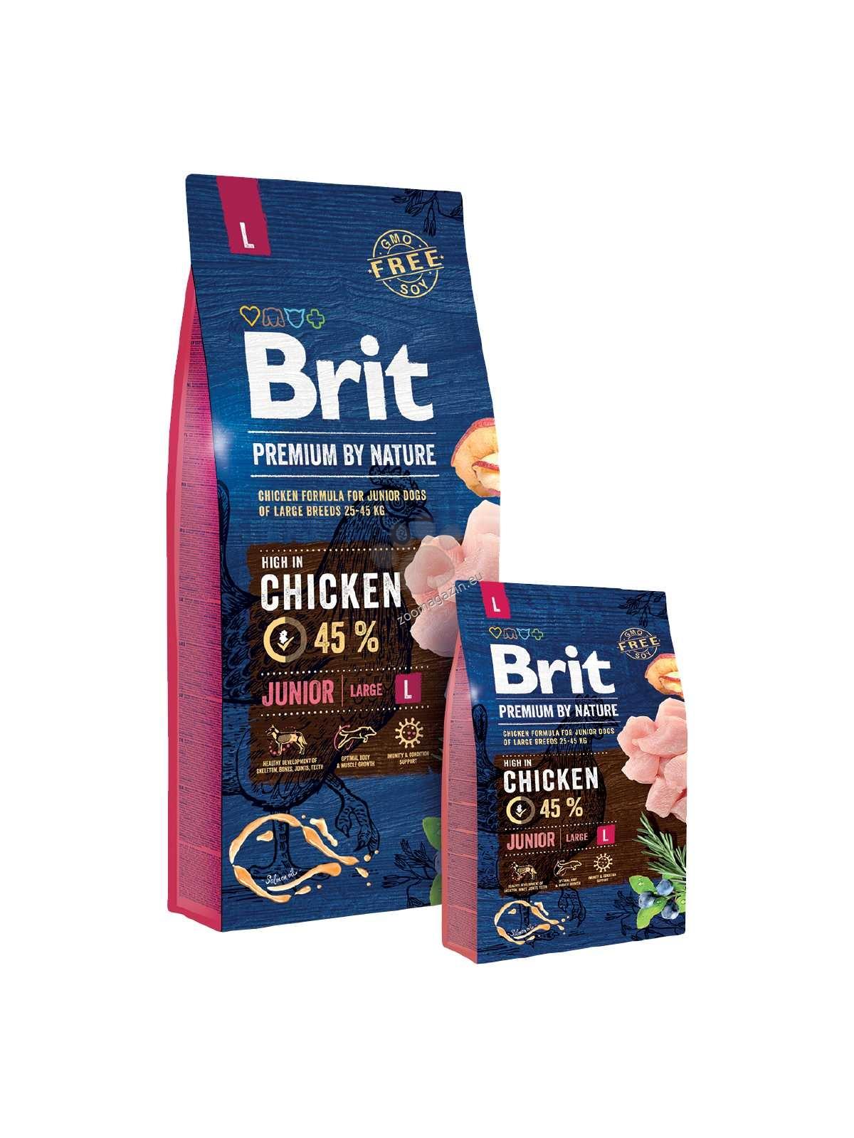 Brit Premium by Nature Junior L - пълноценна храна за кучета големи породи / над 25 кг. / и възраст 1-24 месеца 15 кг.