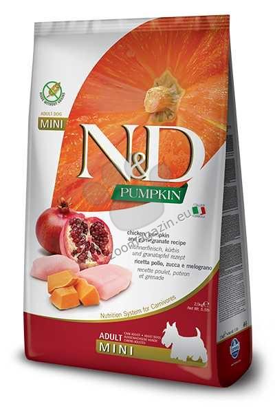 N&D Pumpkin Chicken & Pomegrante Mini Adult - пълноценна храна с тиква за кучета в зряла възраст една година, от дребните породи с пиле и нар 800 гр.