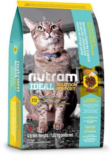 I12 Nutram Ideal Solution Support Weight Control - за котки с наднормени килограми от 1 до 10 години, рецепта с пиле, ечемик и сушен грах 1.8 кг.