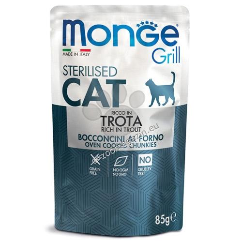 Monge Grill Sterilised с пъстърва – пауч с хапки в желе – за кастрирани котки в зряла възраст 85 гр.