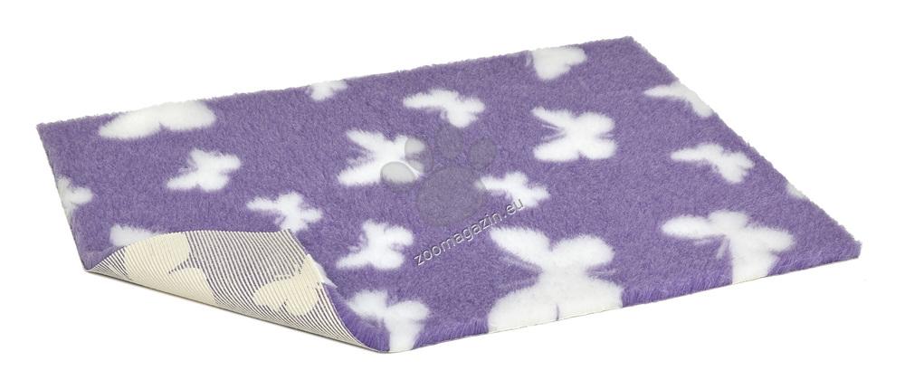 Vetbed Non-Slip Lilac with White Butterflies - мека постелка със слой против пързаляне 120 / 75 см.