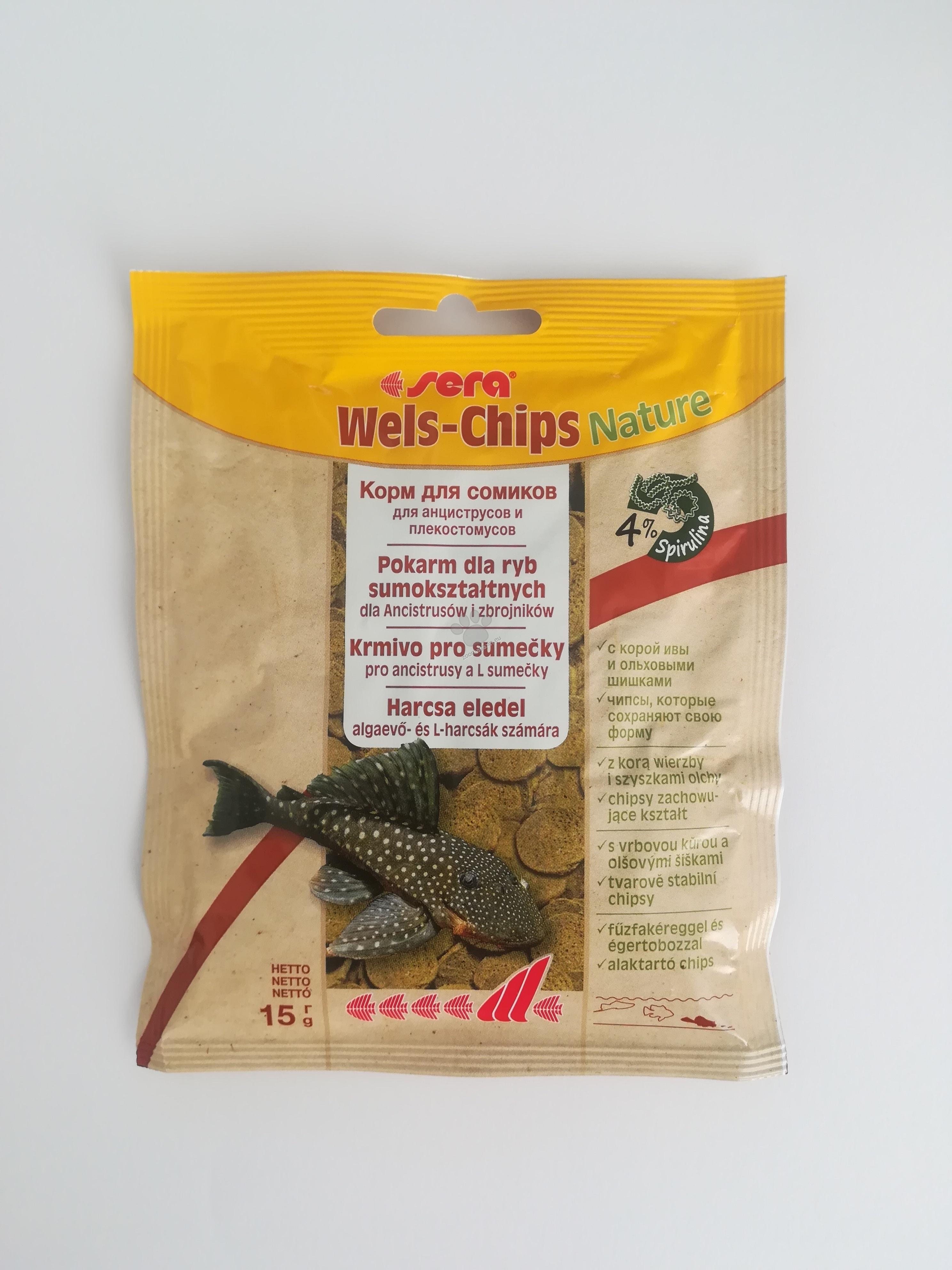 Sera Nature Wels Chips - за придънни рибки с върба и елша 15 гр.