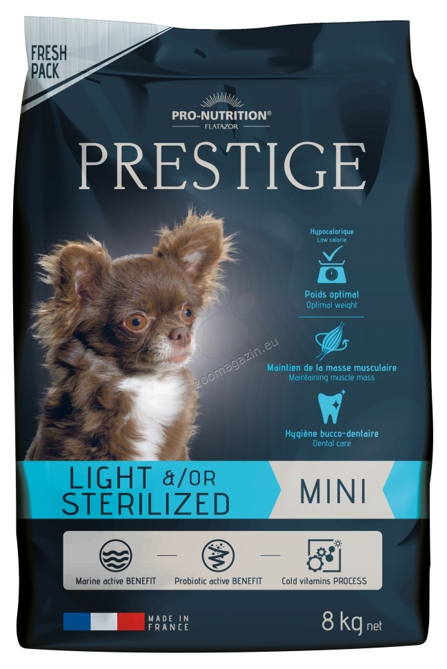Flatazor Prestige Adult Mini Light / Sterilized - пълноценна храна за кучета малки породи със склонност към напълняване или кастрирани 8 кг.