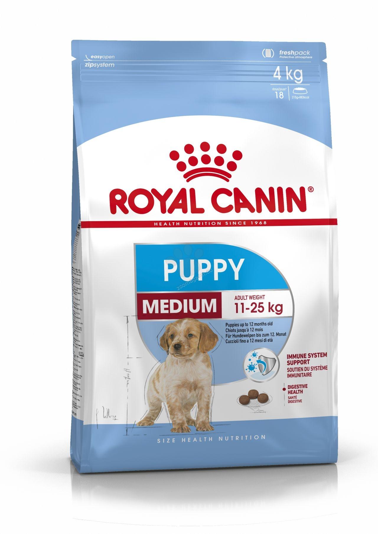 Royal Canin Medium Puppy - пълноценна храна за кученца от средните породи с тегло в зряла възраст от 11 до 25 кг., до 12 месечна възраст 4 кг