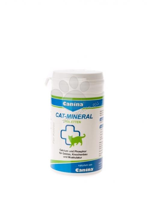 Canina Cat-Mineral Tablets - хранителна добавка за котки, съдържаща минерали, микроелементи, калций и фосфор (за скелет, зъби, мускули), мая (за обмяната на веществата, апетита, храносмилането) и водорасли (за пигментация), 75 грама