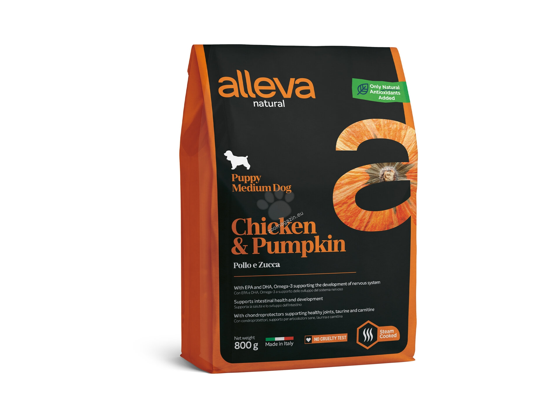 Alleva Natural Puppy Medium Chicken & Pumpkin - с пилешко месо и тиква, за кучета средни породи / 10-25 кг. / и възраст до 12 месеца 800 гр.