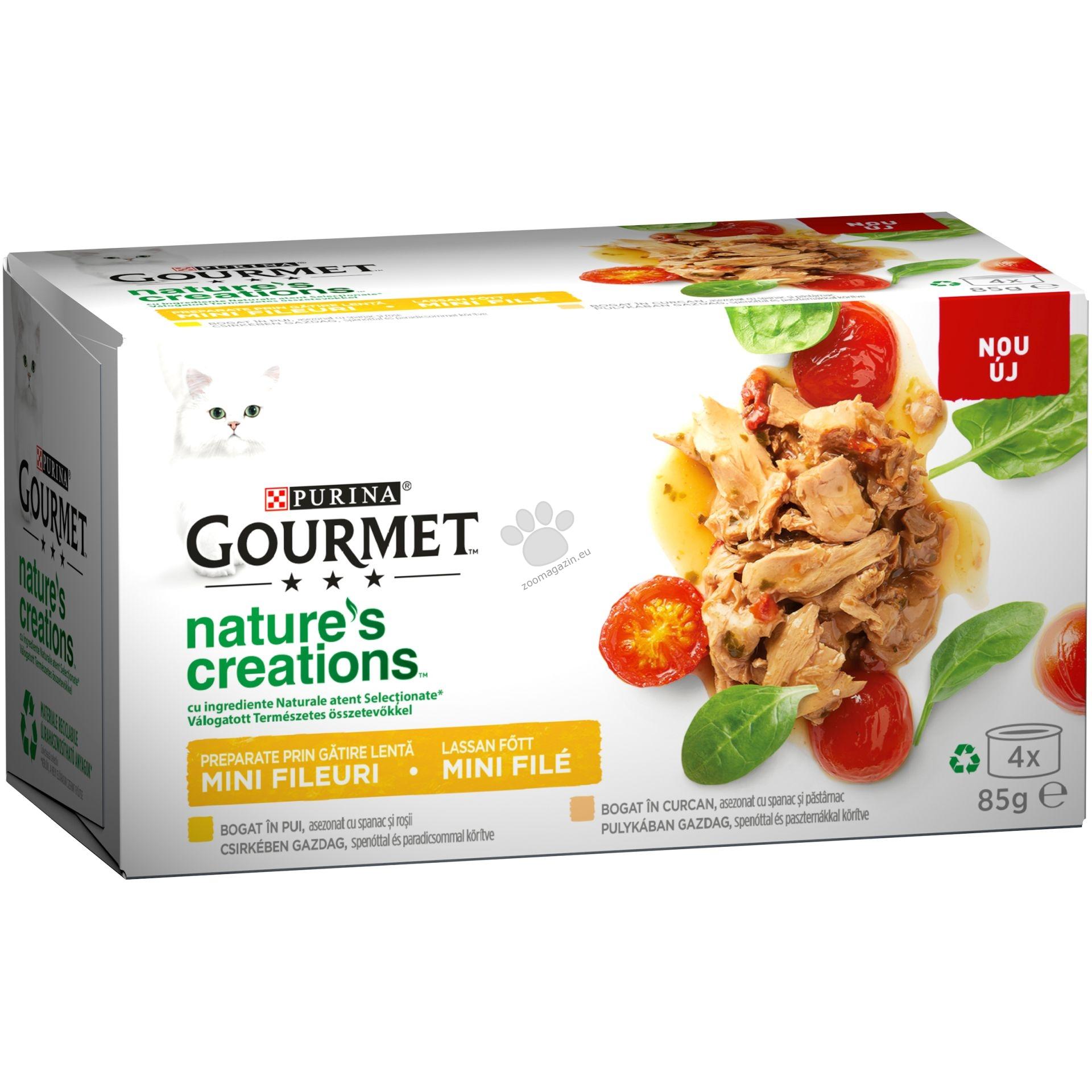 Gourmet Gold Natures Creations Mix - пилешко месо със спанак и домати и пуешко месо със спанак и пащърнак 4 х 85 гр.