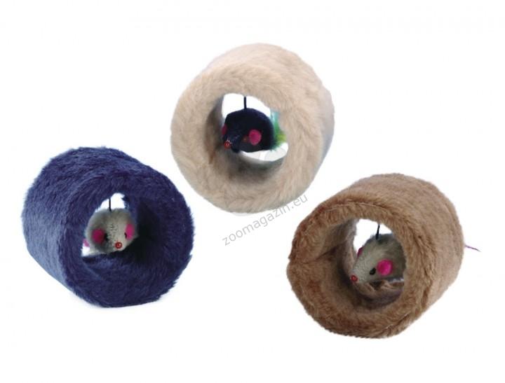Nobby Plush roll - играчка / синя, бежава, кафява / Ø 7 x 9 cm