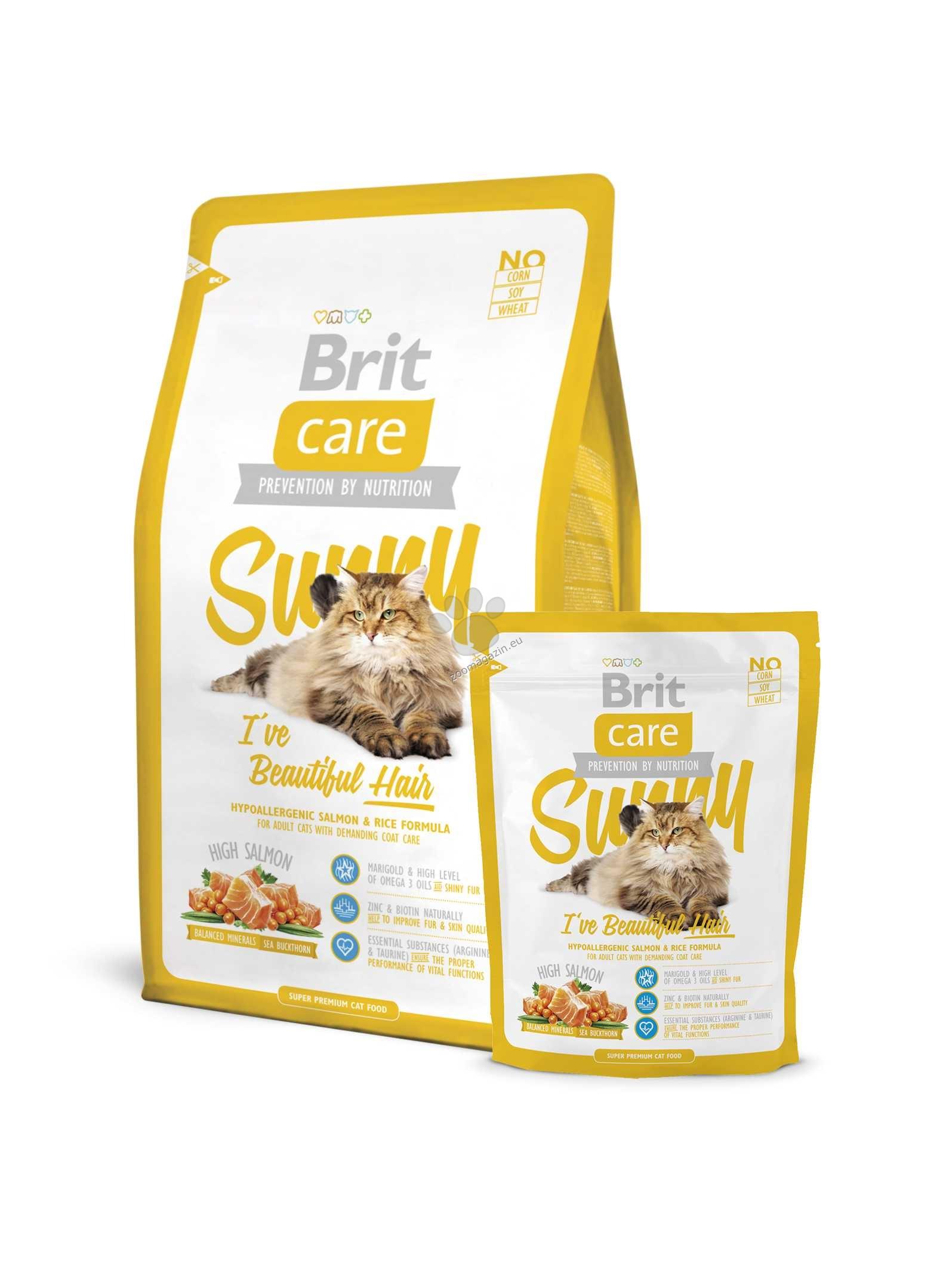 Brit Care Cat Sunny Iive Beautiful Hair - храна със сьомга и ориз, за красива и здрава козина 7 кг.