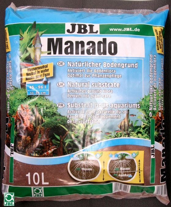 JBL Manado - натурален субстрат за филтрация на водата и подхранване растежа на растенията в аквариума 25 литра