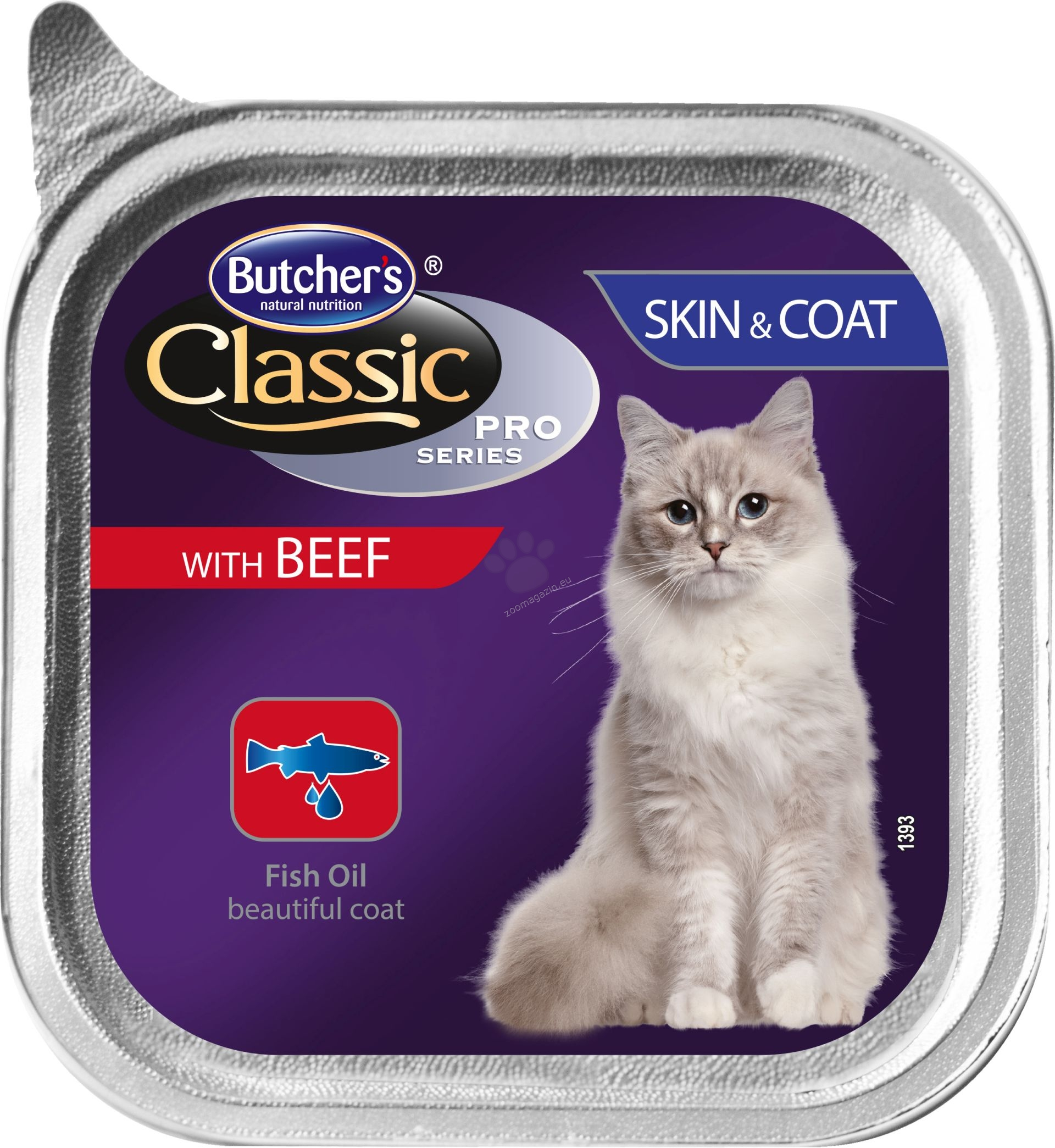 Butchers - Classic Pro Series Skin & Coat with beef pate - храна за котки с говеждо месо за здрава кожа и красива козина, 100 гр. /пастет/