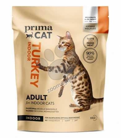 Prima Cat Turkey for adult indoor cats - пълноценна храна с пуешко месо, за котки живеещи в затворени помещения 400 гр.
