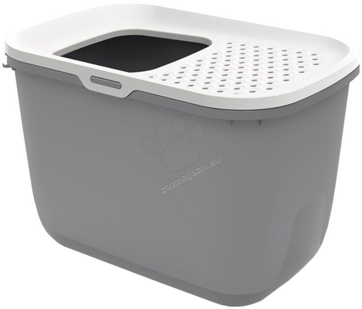 Savic Hop In - закрита котешка тоалетна с вход отгоре 58.5 / 39 / 39.5 см. / сива, тъмно сива /