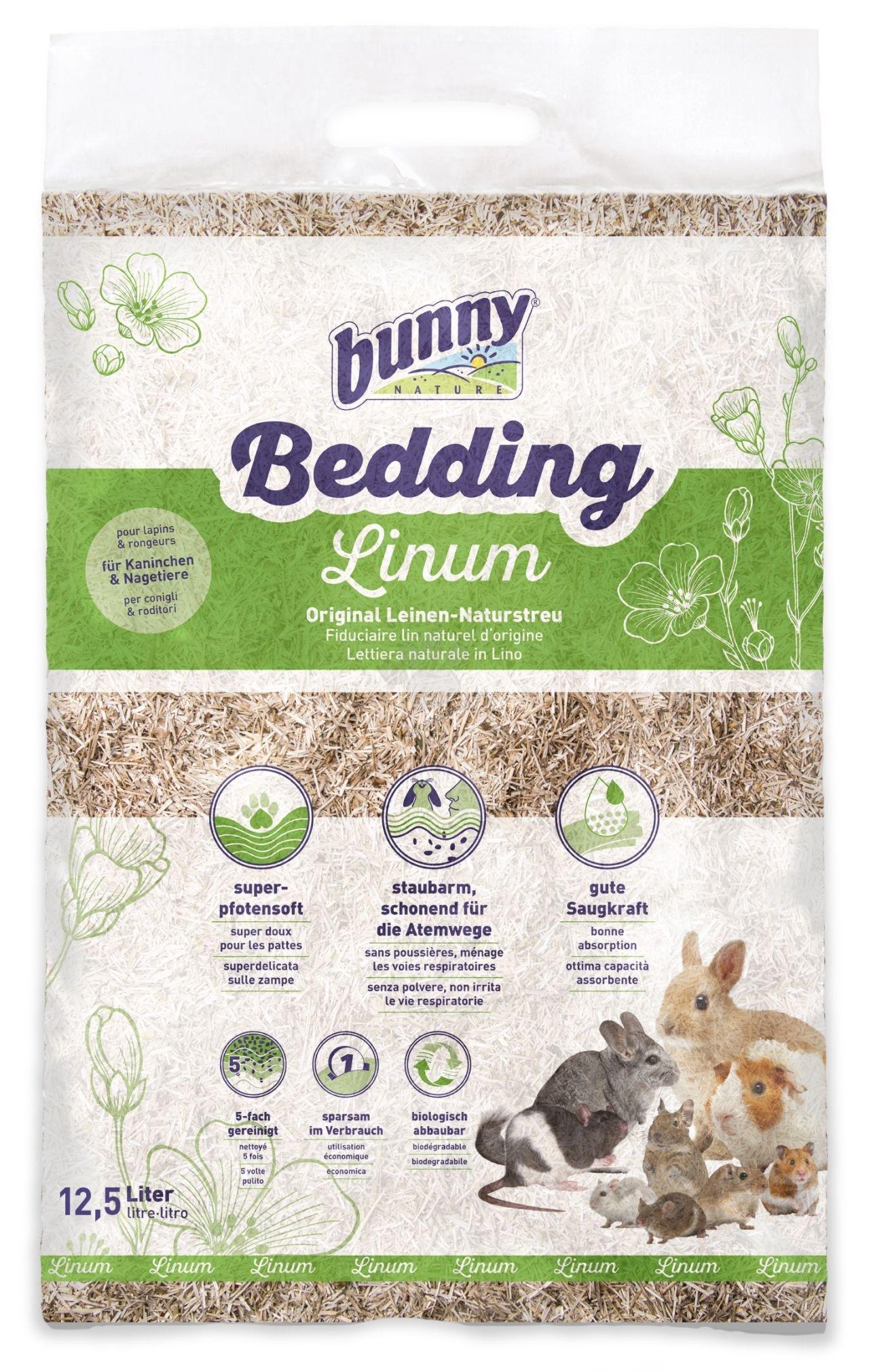 Bunny - Bedding Linum - оригинална натурална постеля от лен за зайци и гризачи 12.5 литра