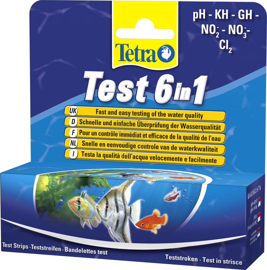 Tetra - Test 6 in 1 - за моментално измерване на 6 показателя PH, KH, GH, NO2, NO3, CL2 -  20 броя тест ленти