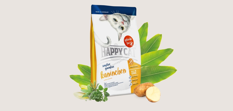 Happy Cat Sensitive Grain Free Rabbit - деликатесна храна със заешко месо и картофи, за котки над 12 месеца 300 гр.