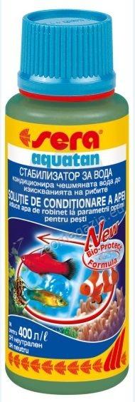 Sera - Аquatan - незабавно кондиционира чешмяната вода съгласно изискванията на рибите – използва се както за сладководни, така и за соленоводни аквариуми 100 мл.