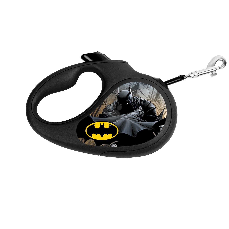 Waudog Batman Black M - автоматичен дизайнерски повод 5 метра, за кучета до 25 кг.