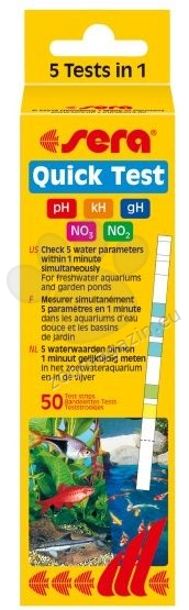 Sera - Quick Test - Тестови лентички 20 броя за бързо определяне - за 60 секунди - на 5 параметъра:pH, kH, gH, NO2, NO3