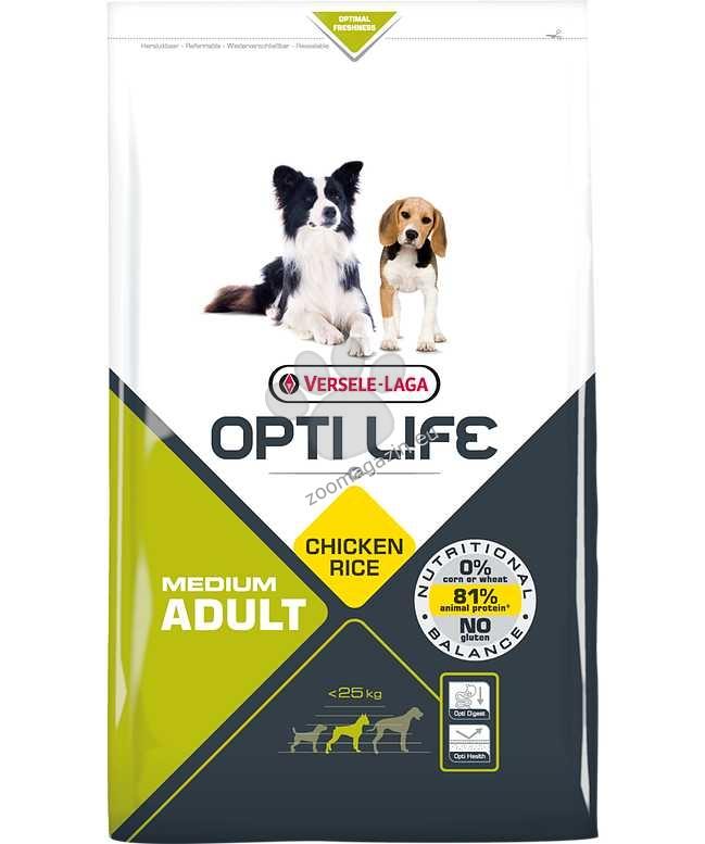 Opti Life Adult Medium - Балансирана храна с пиле за средни породи над 12 месеца 2.5 кг.