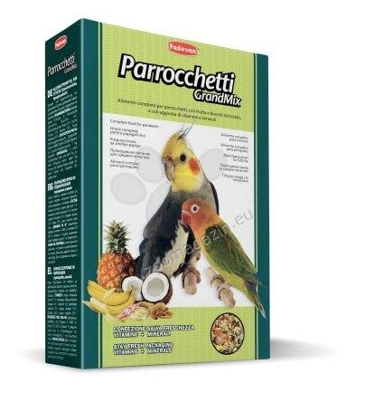 Padovan Grandmix parrochetti - пълноценна храна за средни папагали с плодове 850 гр.