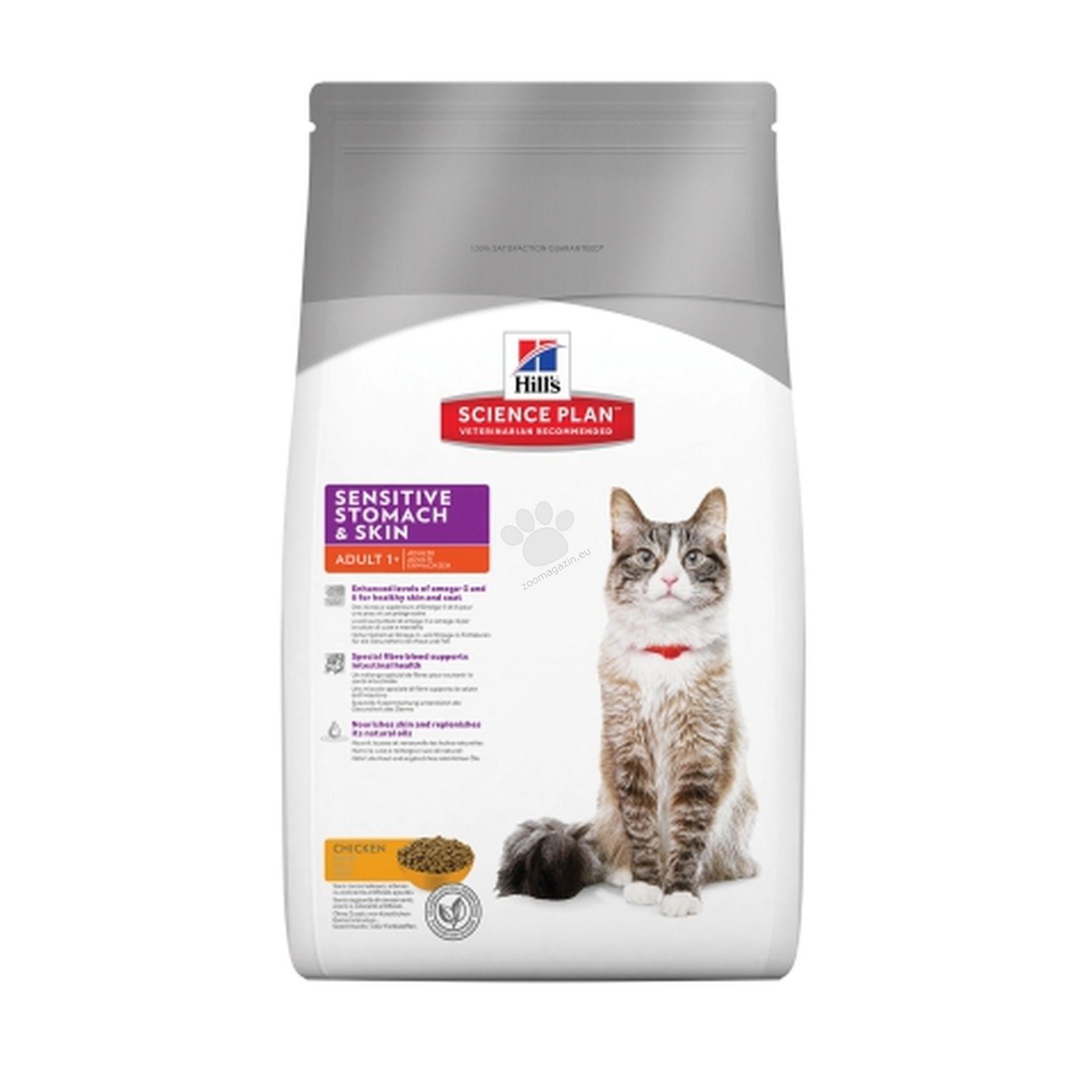 Science Plan Feline Adult Sensitive Stomach & Skin - Формула предназначена за чувствителни кожа и храносмилателна система 5 кг. + ПОДАРЪК 12 бр. паучове