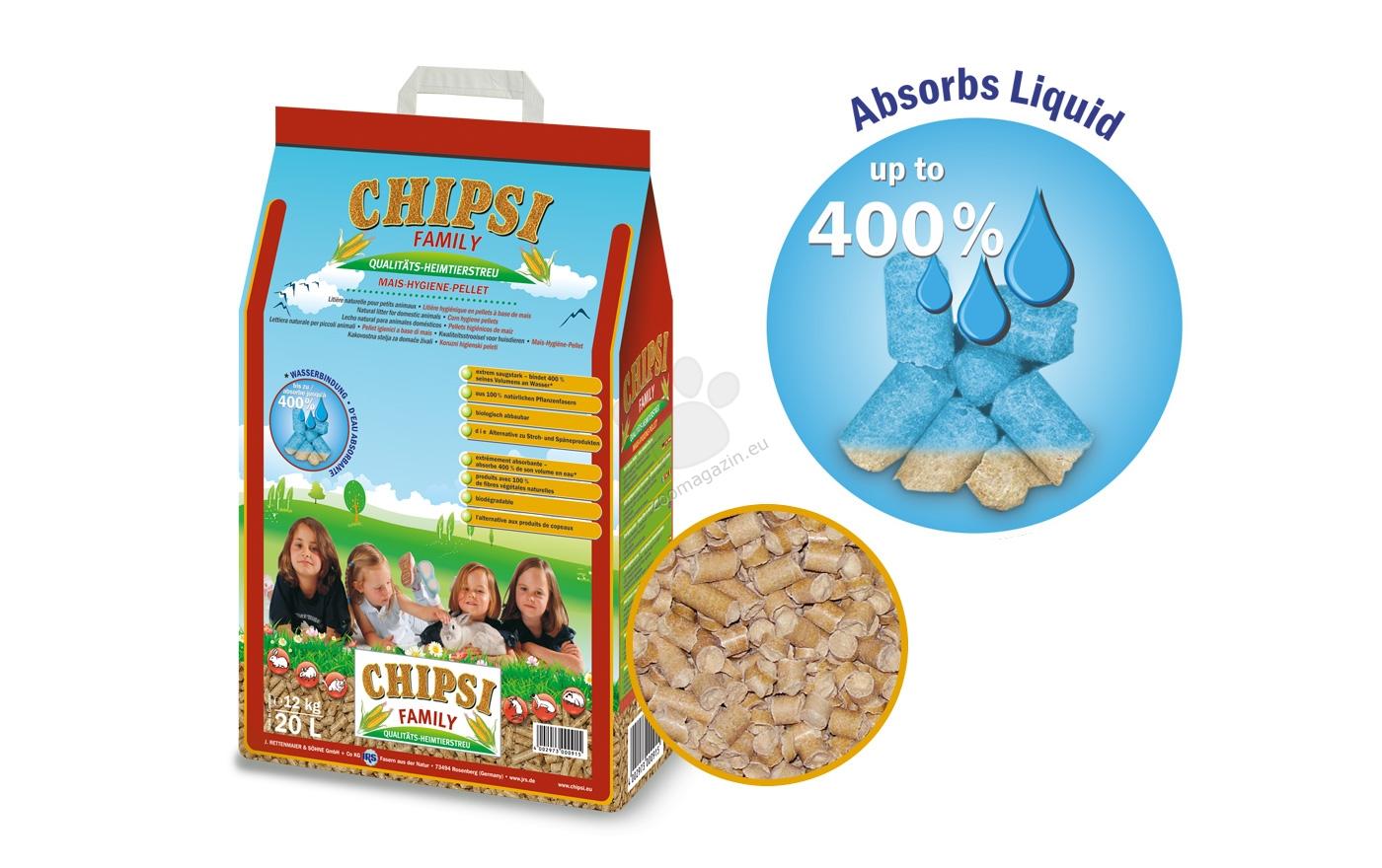 JRS Chipsi Family - хигиенни царевични пелети за котки, гризачи, птици, 20 литра